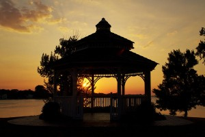 Setting Sun and Gazebo