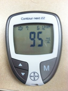 Glucometer with reading.