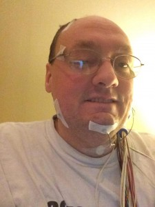 Me (mostly) wired up for my sleep study.